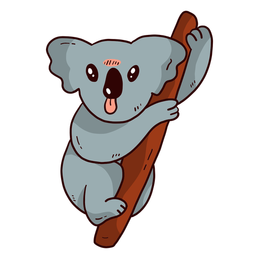 Cute koala ear leg nose branch flat Transparent PNG
