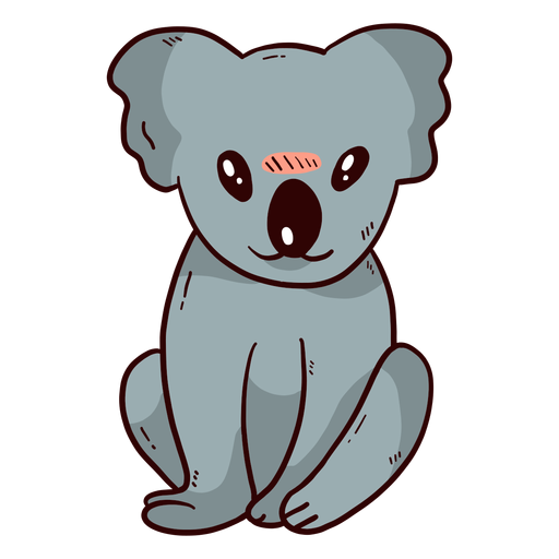 Cute koala leg ear nose flat Transparent PNG