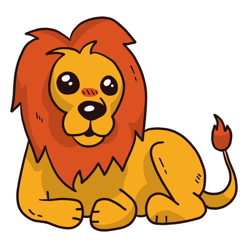 Cute lion king mane tongue tail flat Transparent PNG