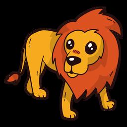 Lindo león rey cola lengua melena plana