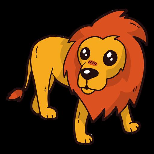 Lindo león rey cola lengua melena plana Transparent PNG