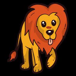 Lindo león rey lengua melena cola plana