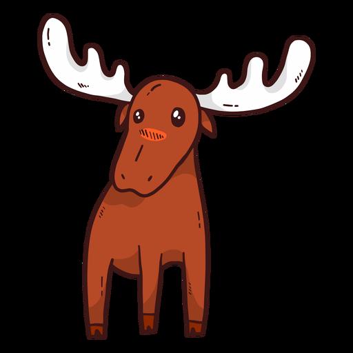 Cute moose elk antler flat Transparent PNG