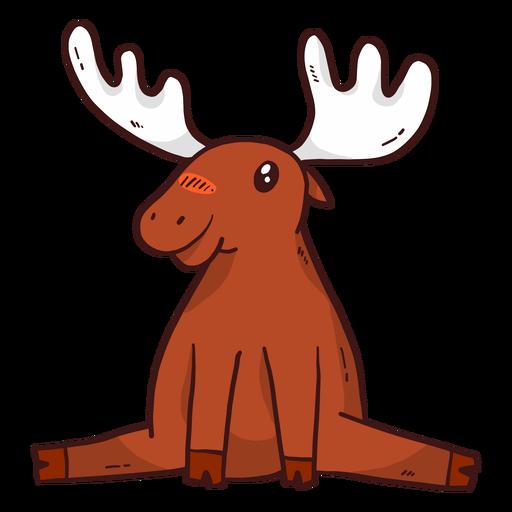 Cute moose elk antler sitting splits flat Transparent PNG