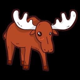 Cute moose elk hoof antler flat