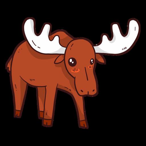Cute moose elk hoof antler flat Transparent PNG