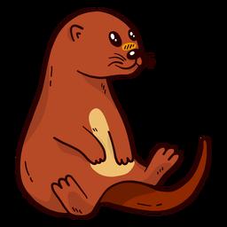 Bonito, lontra, rio, lontra, focinho, rabo, sentando, apartamento