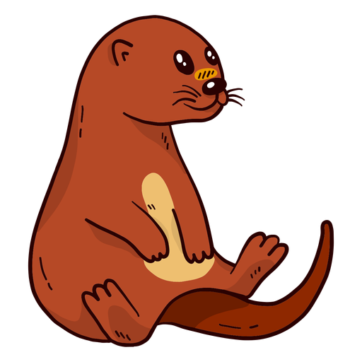 Cute otter river otter muzzle tail sitting flat Transparent PNG