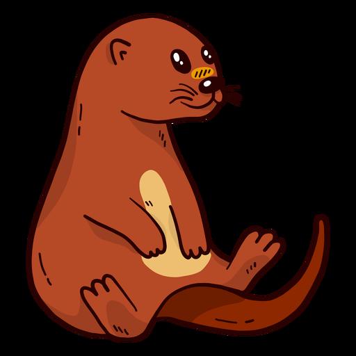 Cute otter river otter muzzle tail sitting flat
