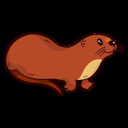 Cute otter river otter tail muzzle flat