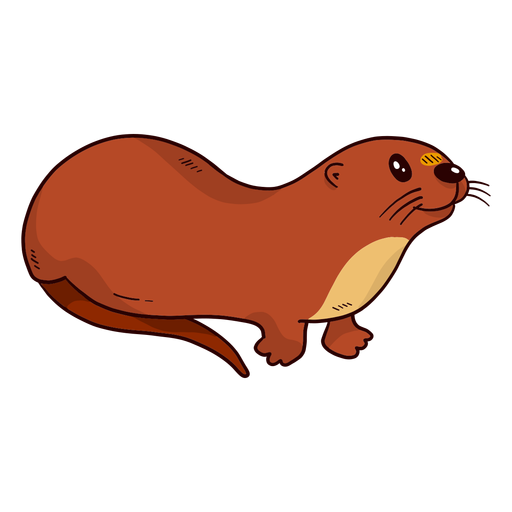 Cute otter river otter tail muzzle flat Transparent PNG