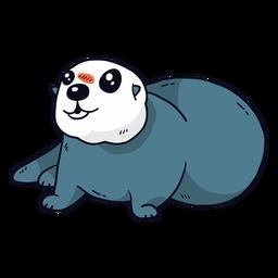 Bonito lontra mar lontra focinho cauda gorda plana