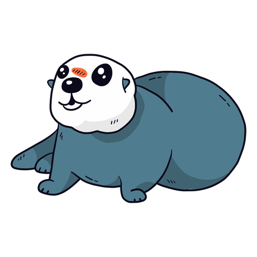 Cute otter sea otter muzzle tail fat flat Transparent PNG