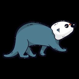 Cute otter sea otter muzzle tail flat