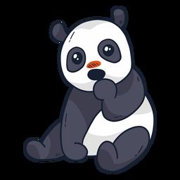 Cute panda muzzle spot sitting flat