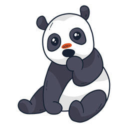 Lindo focinho de panda sentado plana