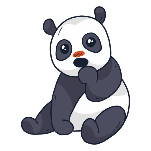 Cute panda muzzle spot sitting flat Transparent PNG