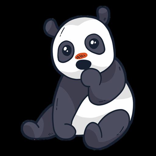 Lindo focinho de panda sentado plana Transparent PNG