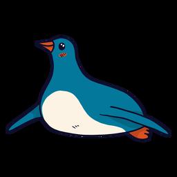 Pinguim bonito bico asa gordura plana