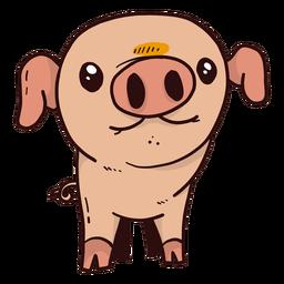 Lindo cerdo oreja hocico pezuña grasa plana