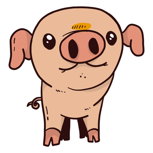 Cute pig ear snout hoof fat flat Transparent PNG