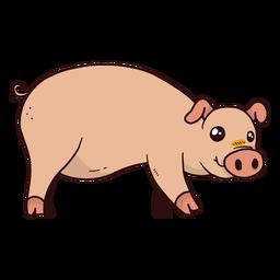 Lindo cerdo hocico oreja casco gordo plano