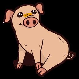 Lindo cerdo hocico oreja casco sentado plano
