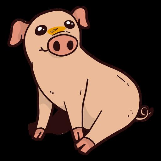 Cute pig snout ear hoof sitting flat Transparent PNG