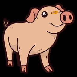 Lindo cerdo hocico pezuña oreja plana