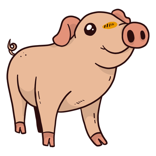 Lindo cerdo hocico pezuña oreja plana Transparent PNG
