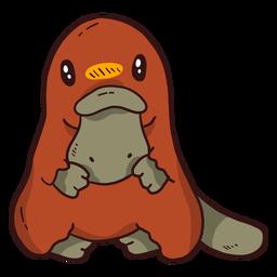 Cola de pico de pico de pato platypus sentada plana