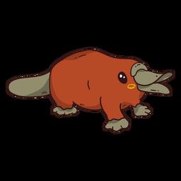 Pato de cola de pato platypus lindo plano