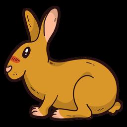 Orelhas de focinho coelho coelho bonito sentado plana