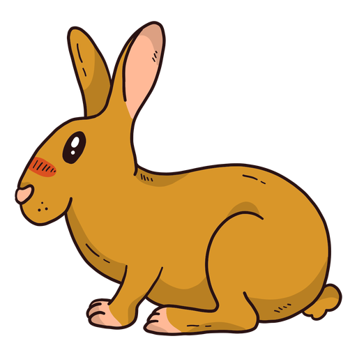 Cute rabbit bunny muzzle ear sitting flat Transparent PNG