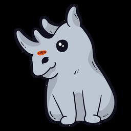 Chifre de rinoceronte de rinoceronte fofo sentado gordura plana
