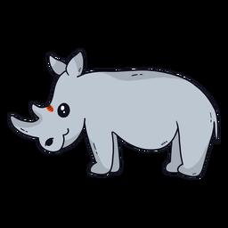 Lindo rinoceronte rinoceronte cuerno cola gordo plano