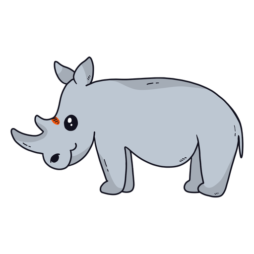 Cute rhinoceros rhino horn tail fat flat Transparent PNG