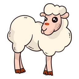 Cute sheep hoof wool lamb flat