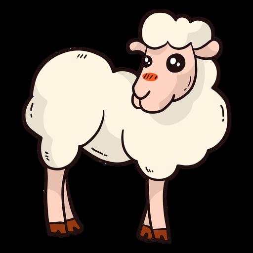 Cute sheep hoof wool lamb flat Transparent PNG