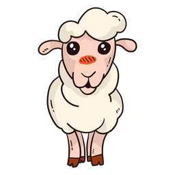 Cute sheep lamb hoof wool flat