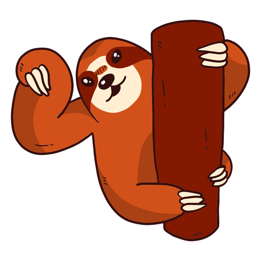 Cute sloth tree branch claw flat Transparent PNG