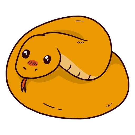 Cute snake twisting forked tongue flat Transparent PNG