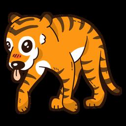 Linda cola de raya de tigre lengua plana