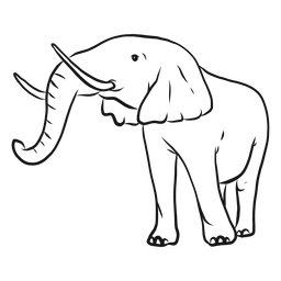 Bosquejo de tronco de marfil de oreja de elefante
