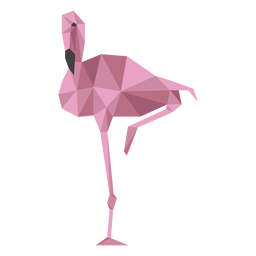 Flamingo beak pink leg low poly
