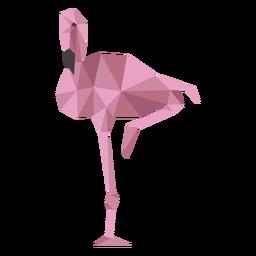 Flamingo bico rosa perna baixo poli