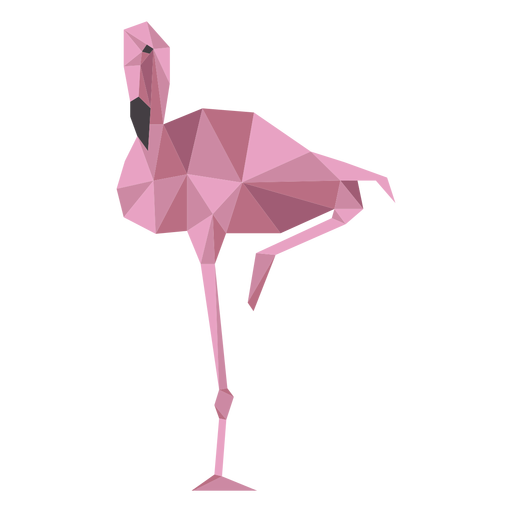 Flamingo Schnabel rosa Bein niedrig Poly Transparent PNG