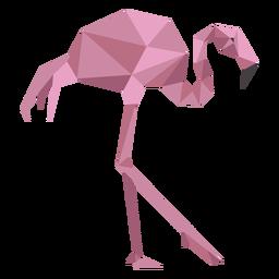 Flamingo rosa bico perna baixo poli
