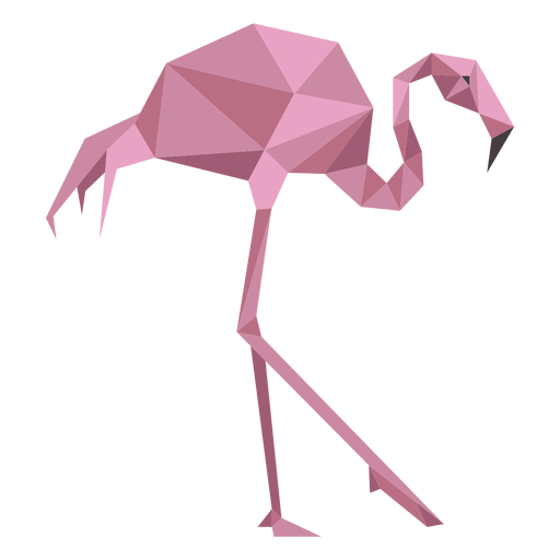 Flamingo rosa pico pierna baja poli Transparent PNG