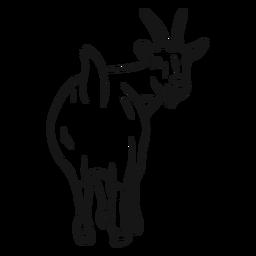 Boceto de pezuña de cola de cuerno de cabra